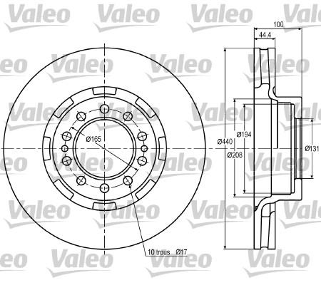 Disque de frein avant VALEO 187022 (X1)