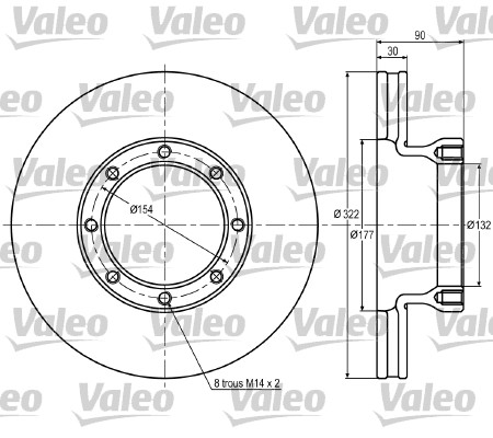 Disque de frein avant VALEO 187027 (X1)