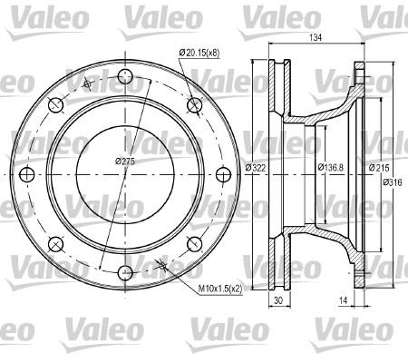 Disque de frein avant VALEO 187060 (X1)