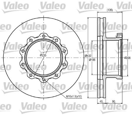 Disque de frein avant VALEO 187076 (X1)