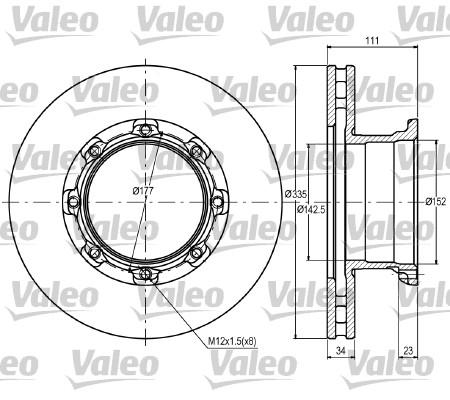 Disque de frein avant VALEO 187083 (X1)