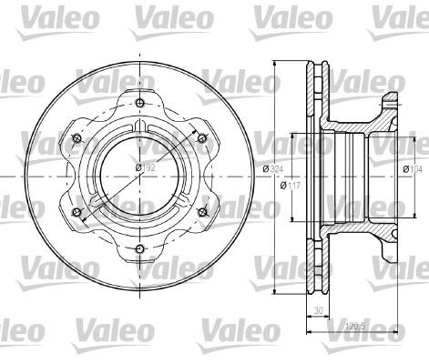 Disque de frein arriere VALEO 187110 (X1)