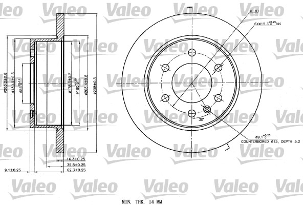Disque de frein arriere VALEO 187142 (X1)