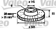 Disque de frein arriere VALEO 187146 (X1)