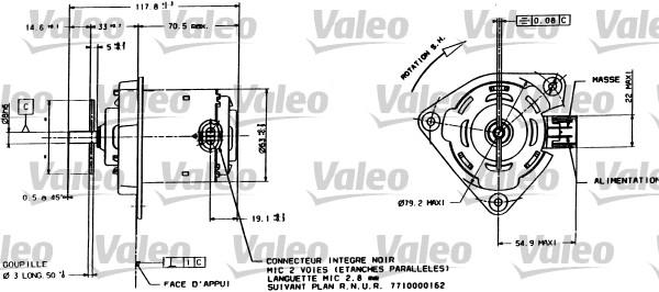 Moteur de ventilateur refroidissement VALEO 698015 (X1)