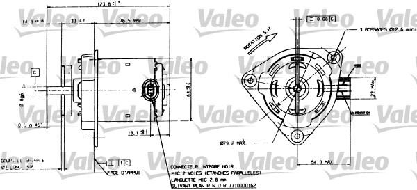 Moteur de ventilateur refroidissement VALEO 698084 (X1)