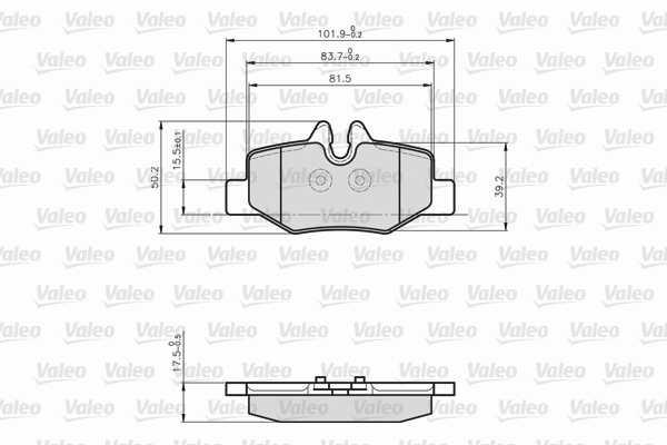 Kit de plaquettes de frein, frein à disque VALEO 872008 (Jeu de 4)