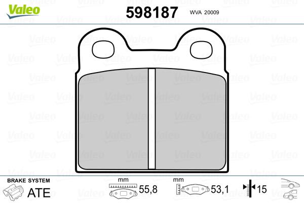 Plaquettes de frein VALEO 598187 (Jeu de 4)