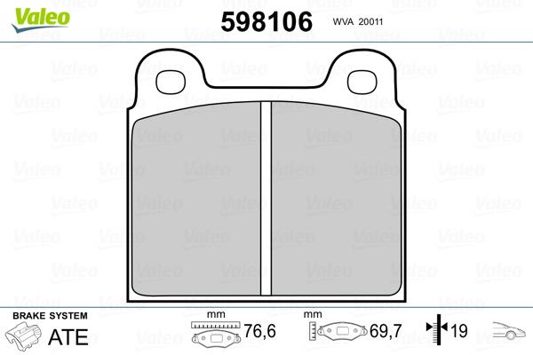 Plaquettes de frein avant VALEO 598106 (Jeu de 4)