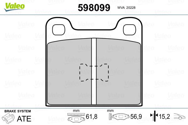 Plaquettes de frein VALEO 598099 (Jeu de 4)