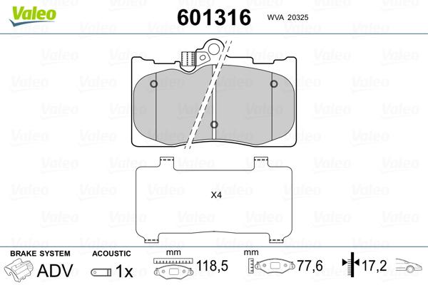 Plaquettes de frein avant VALEO 601316 (Jeu de 4)