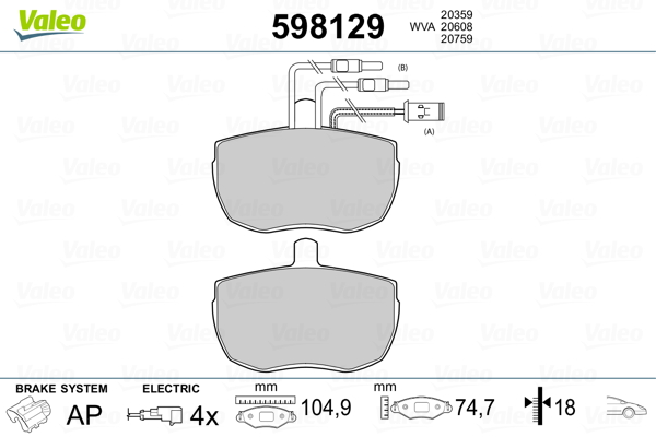 Kit de plaquettes de frein, frein à disque VALEO 598129 (Jeu de 4)