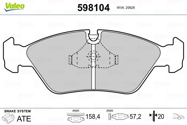 Plaquettes de frein avant VALEO 598104 (Jeu de 4)