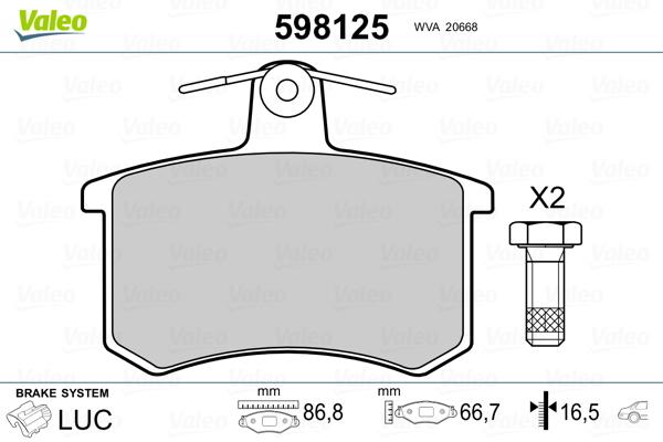 Plaquettes de frein VALEO 598125 (Jeu de 4)