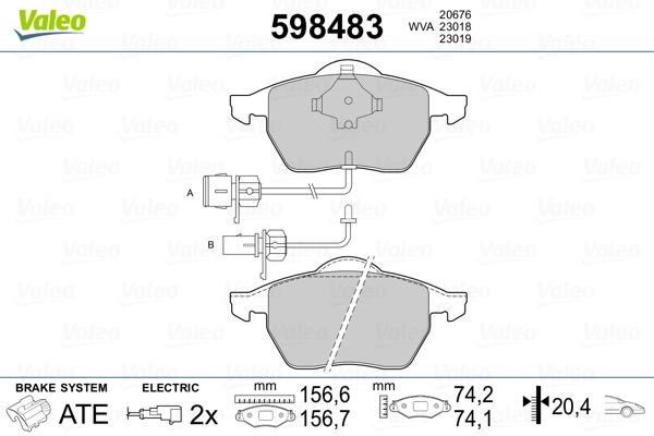 Plaquettes de frein avant VALEO 598483 (Jeu de 4)