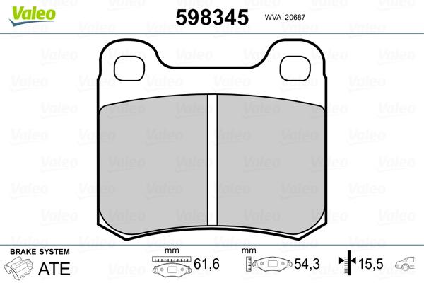 Kit de plaquettes de frein, frein à disque VALEO 598345 (Jeu de 4)