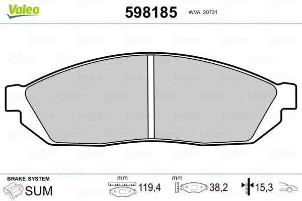 Plaquettes de frein avant VALEO 598185 (Jeu de 4)