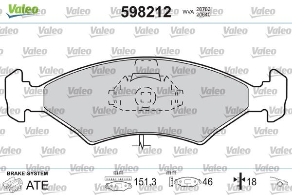 Plaquettes de frein VALEO 598212 (Jeu de 4)