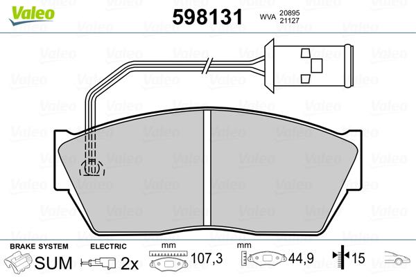 Plaquettes de frein avant VALEO 598131 (Jeu de 4)