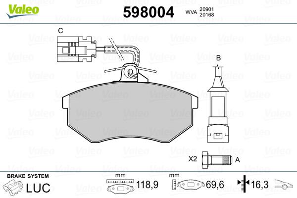 Plaquettes de frein avant VALEO 598004 (Jeu de 4)