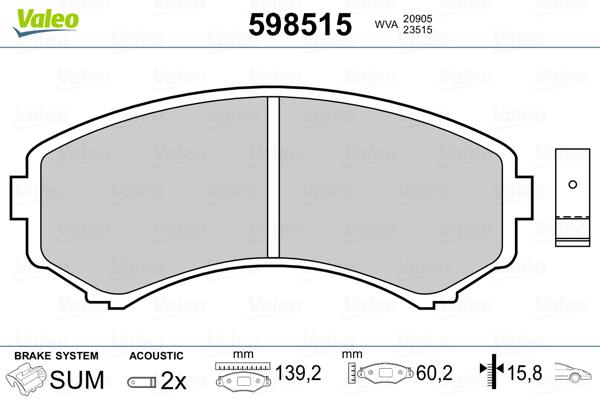 Plaquettes de frein avant VALEO 598515 (Jeu de 4)