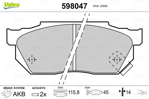 Plaquettes de frein avant VALEO 598047 (Jeu de 4)