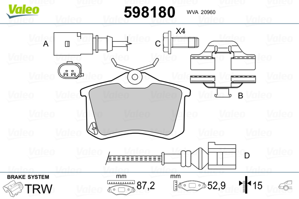 Plaquettes de frein VALEO 598180 (Jeu de 4)