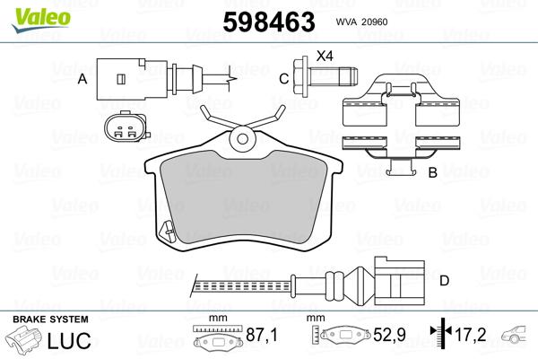 Plaquettes de frein VALEO 598463 (Jeu de 4)