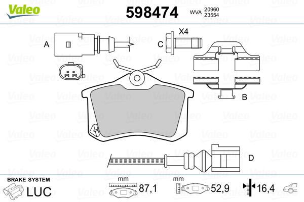 Plaquettes de frein VALEO 598474 (Jeu de 4)
