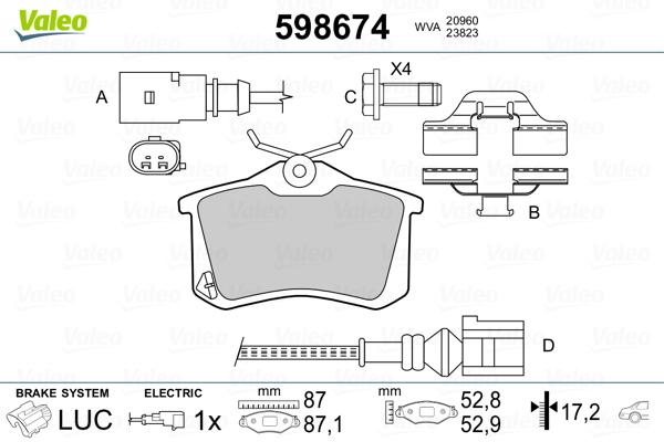 Plaquettes de frein arriere VALEO 598674 (Jeu de 4)