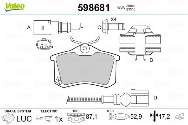 Plaquettes de frein arriere VALEO 598681 (Jeu de 4)