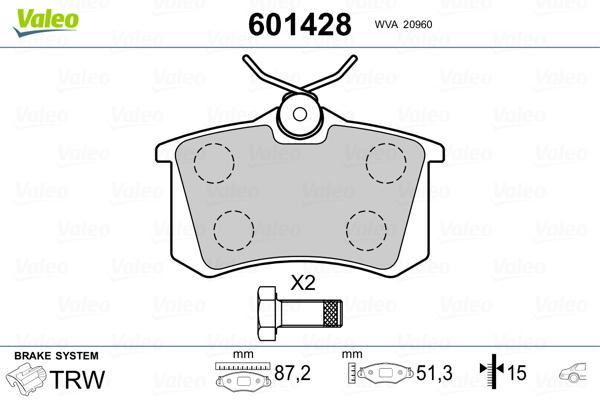 Plaquettes de frein VALEO 601428 (Jeu de 4)