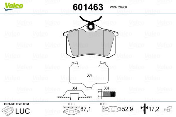 Plaquettes de frein VALEO 601463 (Jeu de 4)