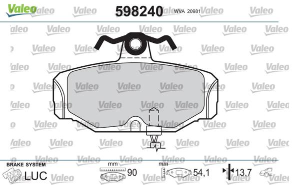 Kit de plaquettes de frein, frein à disque VALEO 598240 (Jeu de 4)