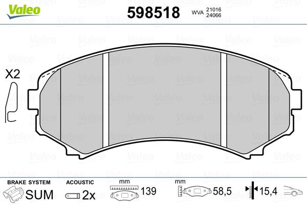 Plaquettes de frein VALEO 598518 (Jeu de 4)