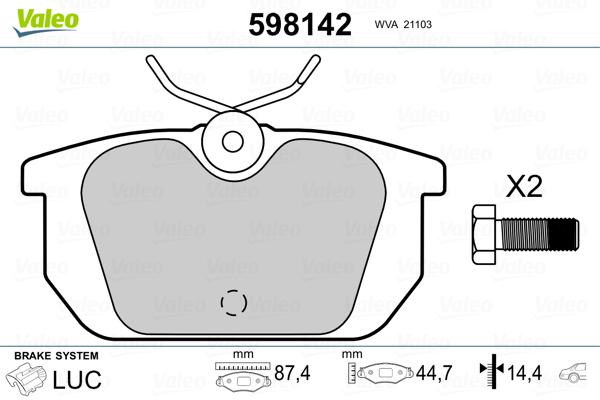 Plaquettes de frein arriere VALEO 598142 (Jeu de 4)
