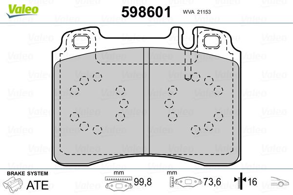 Plaquettes de frein VALEO 598601 (Jeu de 4)