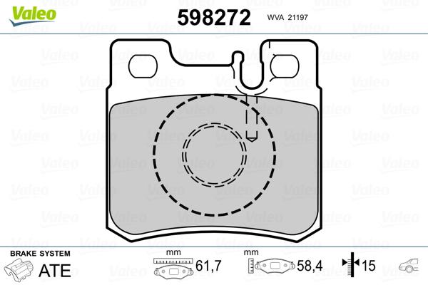 Kit de plaquettes de frein, frein à disque VALEO 598272 (Jeu de 4)