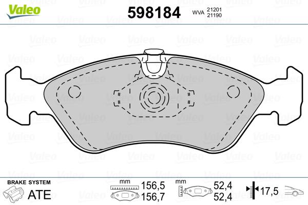 Plaquettes de frein avant VALEO 598184 (Jeu de 4)