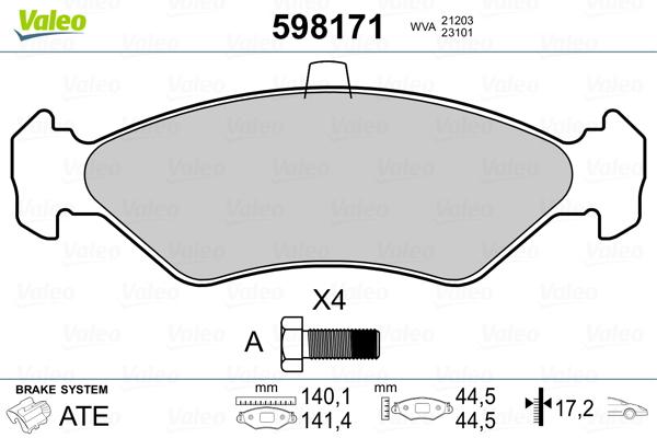 Plaquettes de frein avant VALEO 598171 (Jeu de 4)
