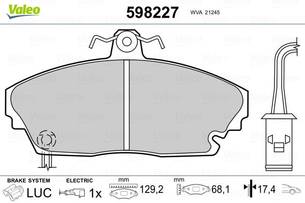 Plaquettes de frein VALEO 598227 (Jeu de 4)