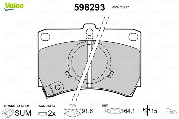 Plaquettes de frein avant VALEO 598293 (Jeu de 4)