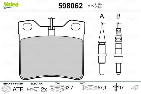 Kit de plaquettes de frein, frein à disque VALEO 598062 (Jeu de 4)