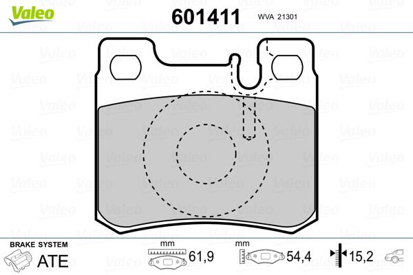 Kit de plaquettes de frein, frein à disque VALEO 601411 (Jeu de 4)