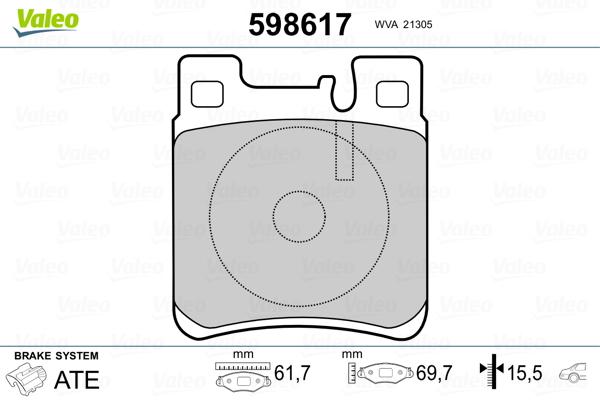 Kit de plaquettes de frein, frein à disque VALEO 598617 (Jeu de 4)