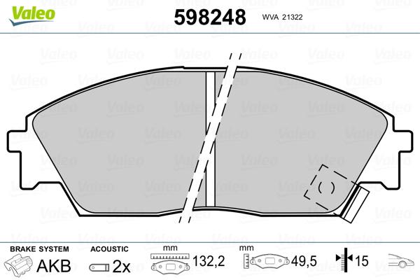Plaquettes de frein avant VALEO 598248 (Jeu de 4)