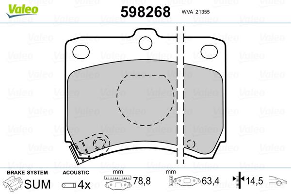 Plaquettes de frein avant VALEO 598268 (Jeu de 4)