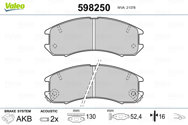Plaquettes de frein avant VALEO 598250 (Jeu de 4)