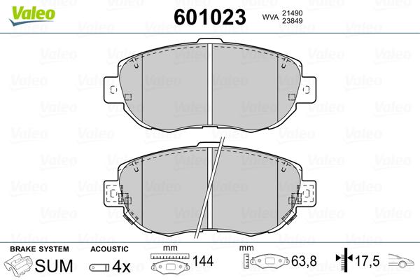 Plaquettes de frein avant VALEO 601023 (Jeu de 4)