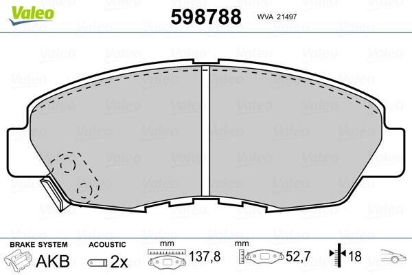 Plaquettes de frein avant VALEO 598788 (Jeu de 4)